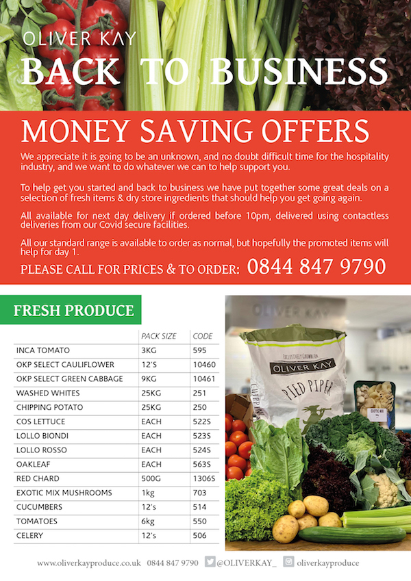 Back to business - money saving offers from Oliver Kay Produce