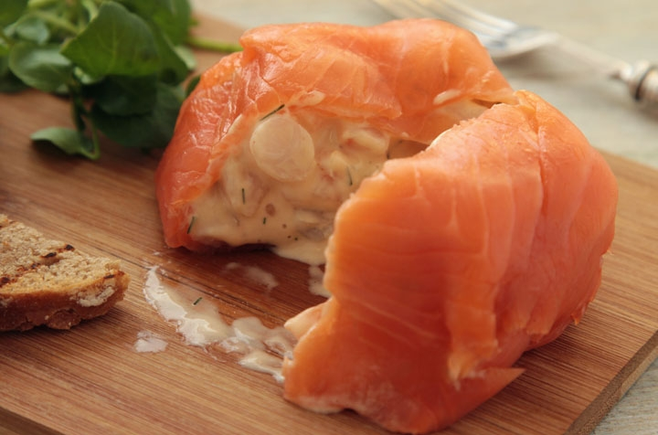 Christmas Prawn Parcel Wrapped in Smoked Salmon with Watercress